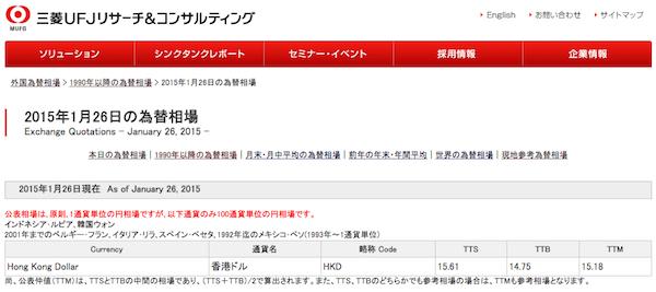 三菱東京UFJ銀行の為替レート