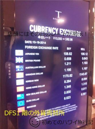 2014年10月19日のDFS両替所の為替レート