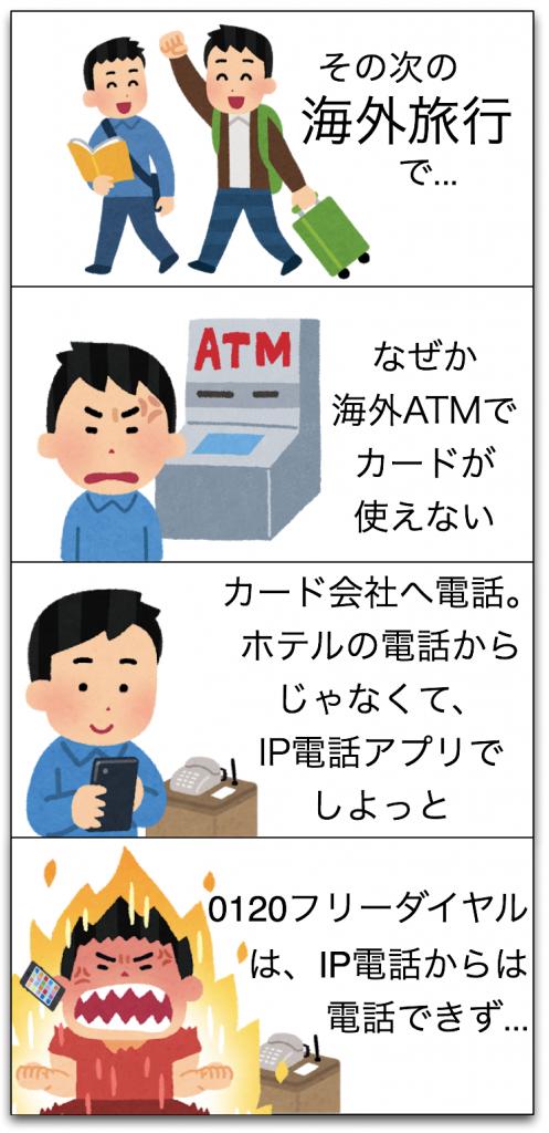 国際電話トラブル2 (0120フリーダイヤルにIP電話から電話できず)