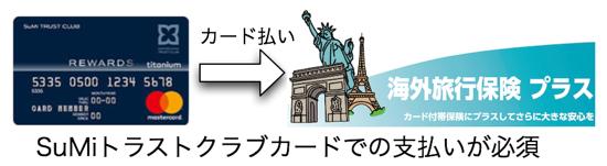 海外旅行保険プラスはトラストクラブカードでの支払いが必須