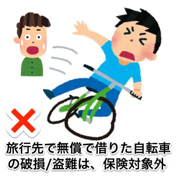 海外旅行先で無料で借りた自転車は保険対象外